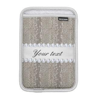 Paillettes et diamants argentés de Faux Housses Pour iPad Mini