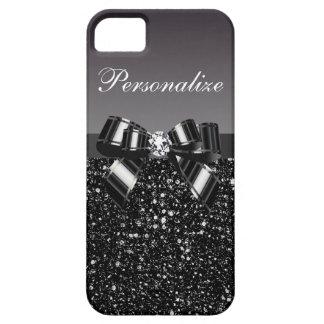 Paillettes imprimées, arc et diamant noirs et étui iPhone 5