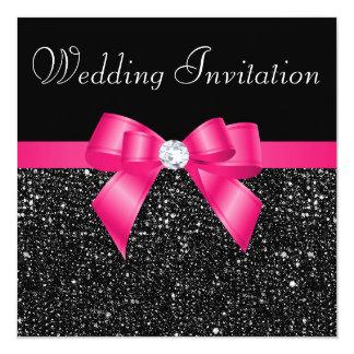 Paillettes noires imprimées et mariage d'arc de carton d'invitation  13,33 cm