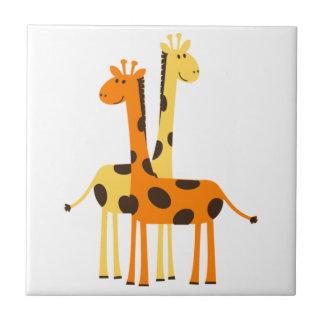 Paires drôles mignonnes de girafe petit carreau carré