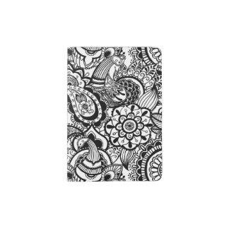Paisley floral blanc noir mignon protège-passeport