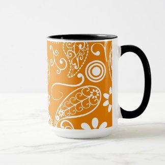 Paisley orange-foncé ; Regard vintage de tableau Mug