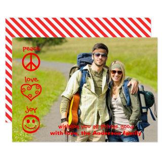 Paix, amour, joie - carte de Noël 3x5 Carton D'invitation 8,89 Cm X 12,70 Cm