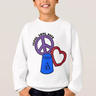 Paix, amour, tasses, bleu-multi sweatshirt