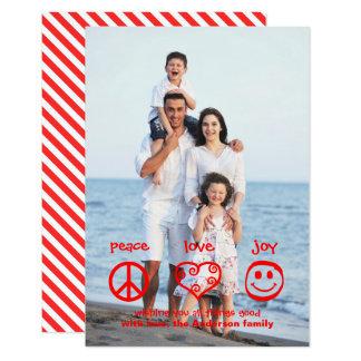 Paix, amour, verticale de joie - carte de Noël 3x5