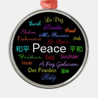 Paix autour du monde dans le noir IV Ornement De Noël
