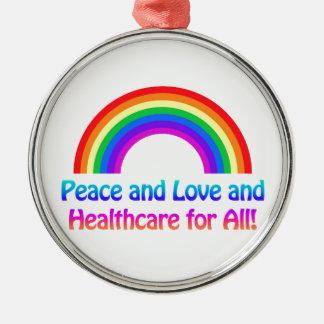 Paix et amour et soins de santé pour tout ornement rond argenté