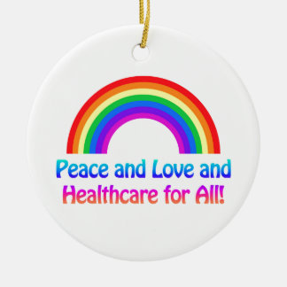 Paix et amour et soins de santé pour tout ornement rond en céramique