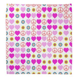 paix et amour, roses bandana