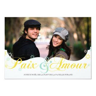 Paix et D'amour Carte de Noël Carton D'invitation 12,7 Cm X 17,78 Cm