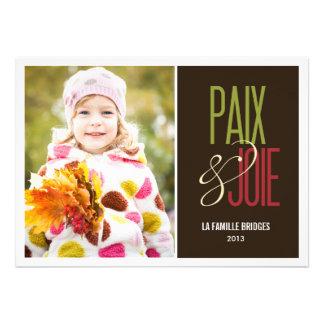 Paix et joie cartes de photo de vacances invitation personnalisée