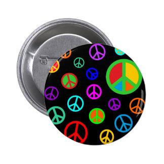 PAIX - motif plat multicolore + votre backgr. Badge Rond 5 Cm