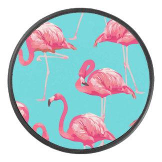 Palet De Hockey Oiseaux roses de flamant sur l'arrière - plan de