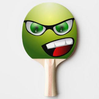 Palette drôle verte de ping-pong de visage raquette de ping pong