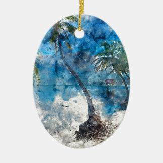 Palmier en ambre gris Caye Belize Ornement Ovale En Céramique