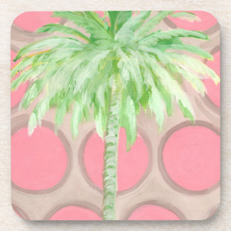 Palmier rose de point de polka de dessous de verre