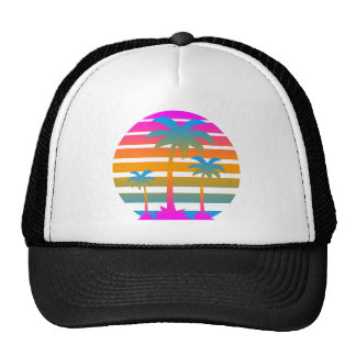 Palmiers de coucher du soleil du tigre 80s de casquette trucker