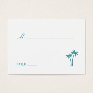 Palmiers épousant la carte d'endroit - blanc/Aqua