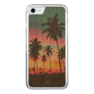Palmiers sur le coque iphone en bois
