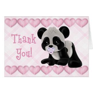 Panda avec le carte de remerciements de coeurs de