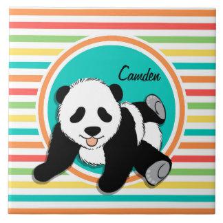 Panda de bébé Rayures lumineuses d arc-en-ciel Carreaux En Céramique