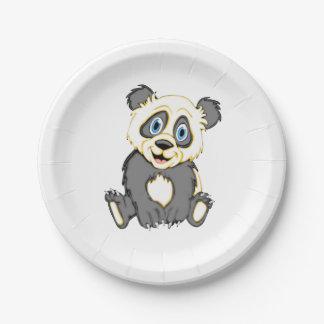Panda de sourire assiettes en papier