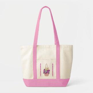 Panier rose de sac de fleurs