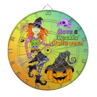 Panneau de dard de sorcière de Halloween Rockin Jeu De Fléchettes