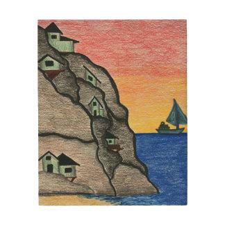 Panneau de mur coloré d'art populaire de paysage