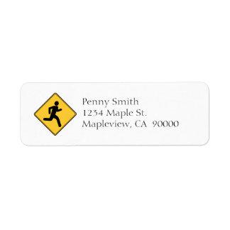 Panneau routier - coureur étiquettes d'adresse retour
