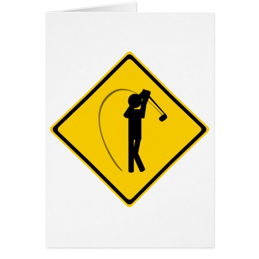 Panneau routier de golfeur cartes de vœux