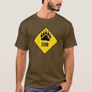 Panneau routier gai de jaune de patte d'ours de t-shirt