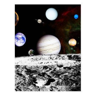 Panorama de planète de la surface de la lune carte postale