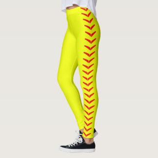 Pantalon jaune lumineux de guêtres du base-ball de leggings