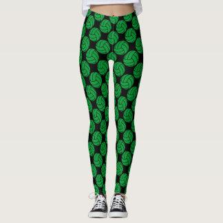 Pantalon vert et noir de guêtres de volleyball leggings