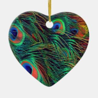 Paon audacieux et riche ornement cœur en céramique
