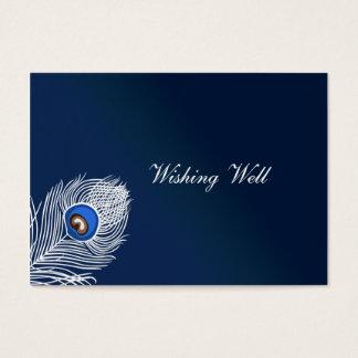 Paon blanc et bleu élégant souhaitant les cartes