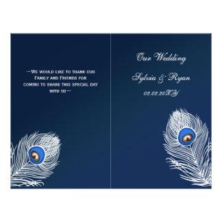 Paon bleu élégant plié épousant le programme prospectus personnalisés