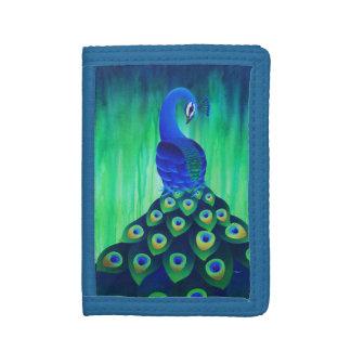 Paon dans le portefeuille bleu et vert