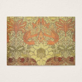 Paon de William Morris et motif de dragon Cartes De Visite