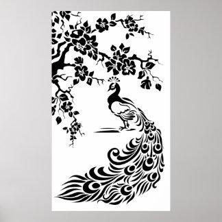 Paon et affiche blancs noirs de fleurs de cerisier