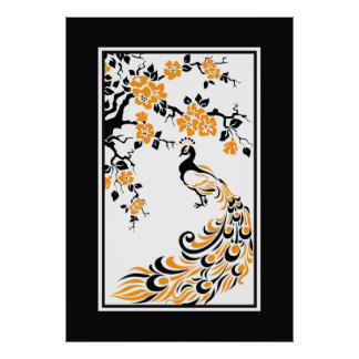 Paon et fleurs de cerisier noirs, oranges, blancs