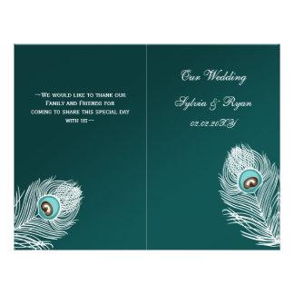 Paon turquoise élégant plié épousant le programme prospectus customisé