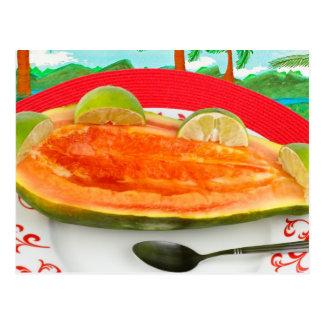 Papaye avec la chaux avec la peinture tropicale de carte postale