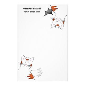 Papeterie 2 côtés à un chat, mauvais chat tigré orange de