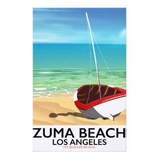 Papeterie Affiche de plage de rail de LA de plage de Zuma