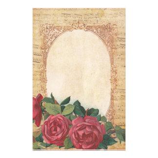 Papeterie Affligé avec la frontière des roses et des notes