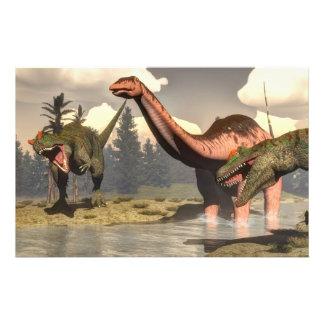 Papeterie Allosaurus chassant le grand dinosaure de