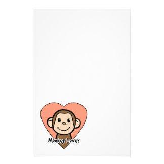 Papeterie Amour mignon de singe de sourire de clipart