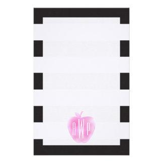 Papeterie Aquarelle rose décorée d'un monogramme Apple +